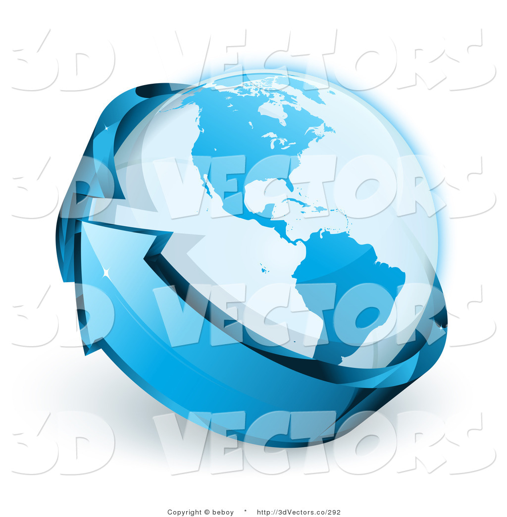 3d Vector Clipart of a Blue Shiny Arrow Circling Around Planet ...