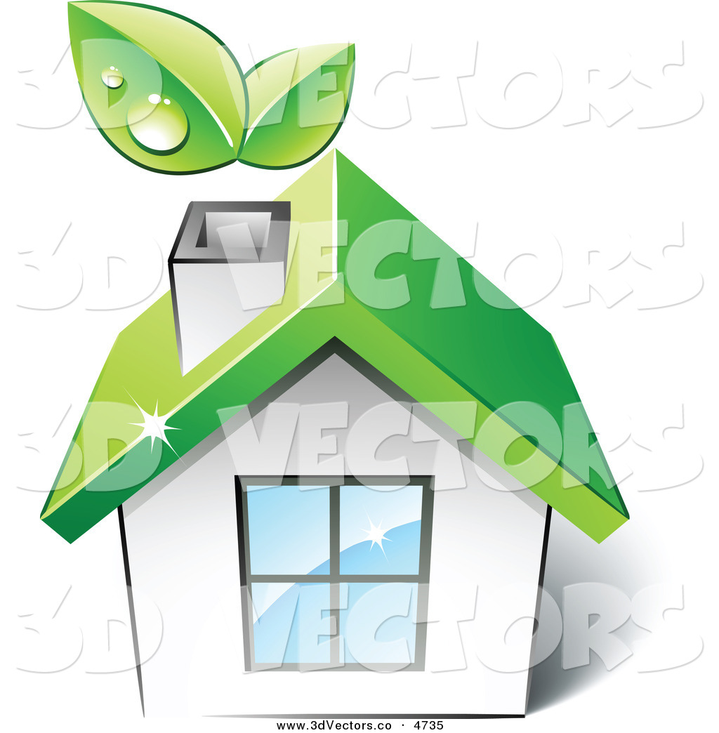 3d Vector Clipart of a Pre-Made Logo of a Green House with ...