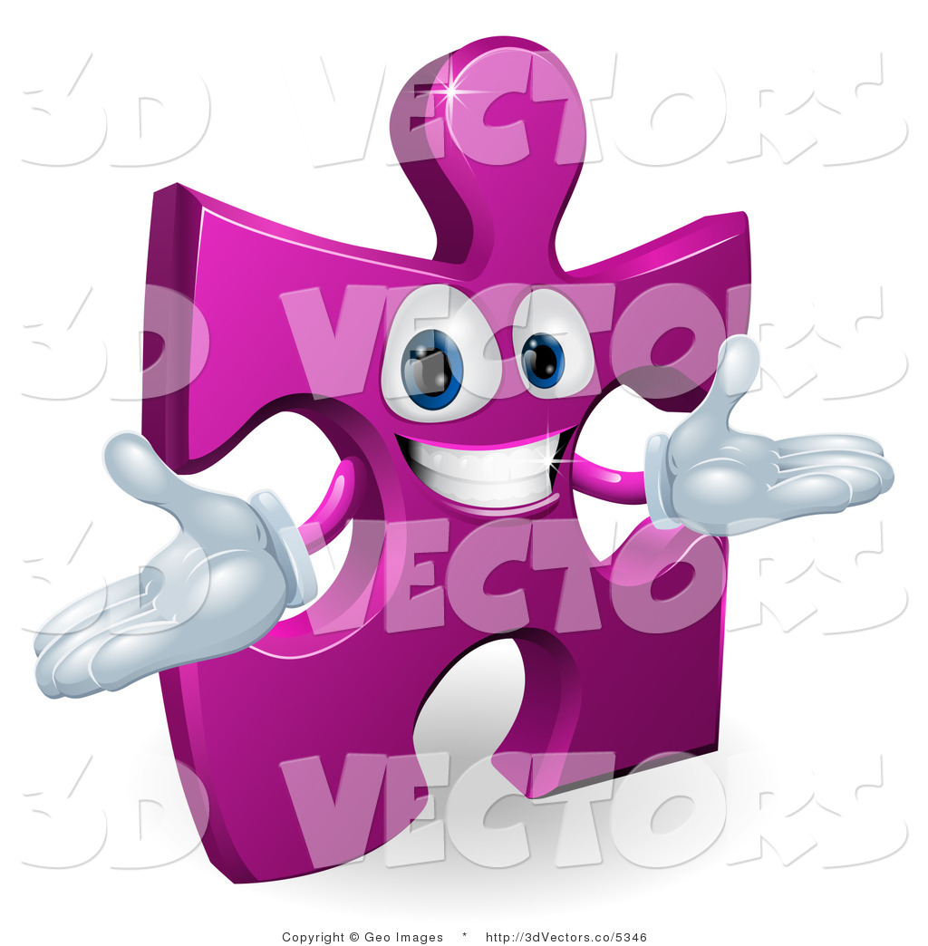 3d Vector Clipart Of A Purple Jigsaw Puzzle Character