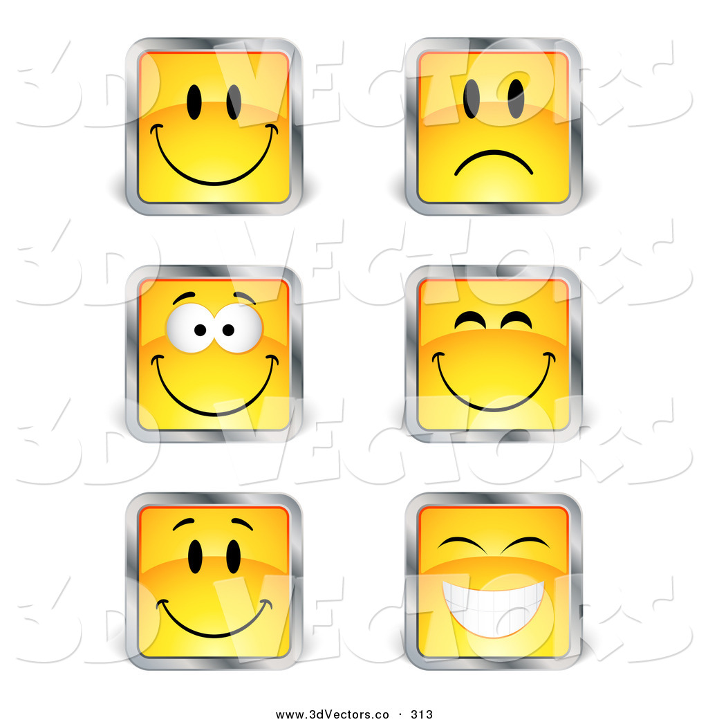 3d vector clipart of a set of six yellow square happy and sad 3d vector clipart of a set of six yellow square happy and sad emoticon faces with buycottarizona Choice Image