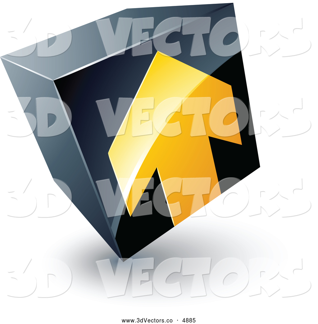 3d Vector Clipart Of A Yellow Arrow Pointing Up On A Tilted Black