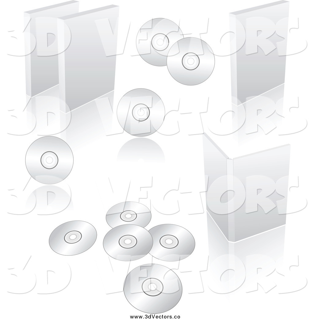 Vector clipart of 3d blank white software cases and discs Vector image software