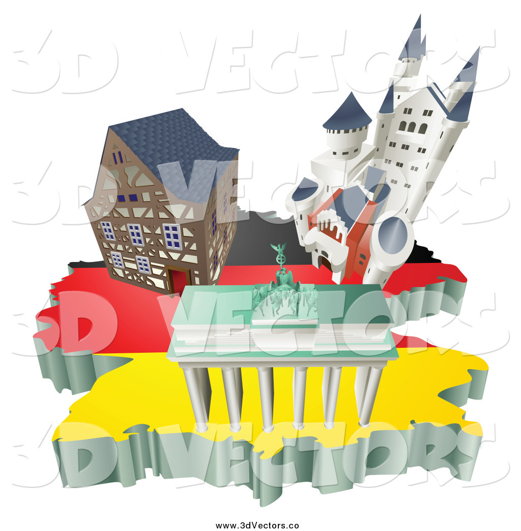 Vector Clipart of 3d German Tourist Attractions on a Flag Map of – Germany Tourist Attractions Map
