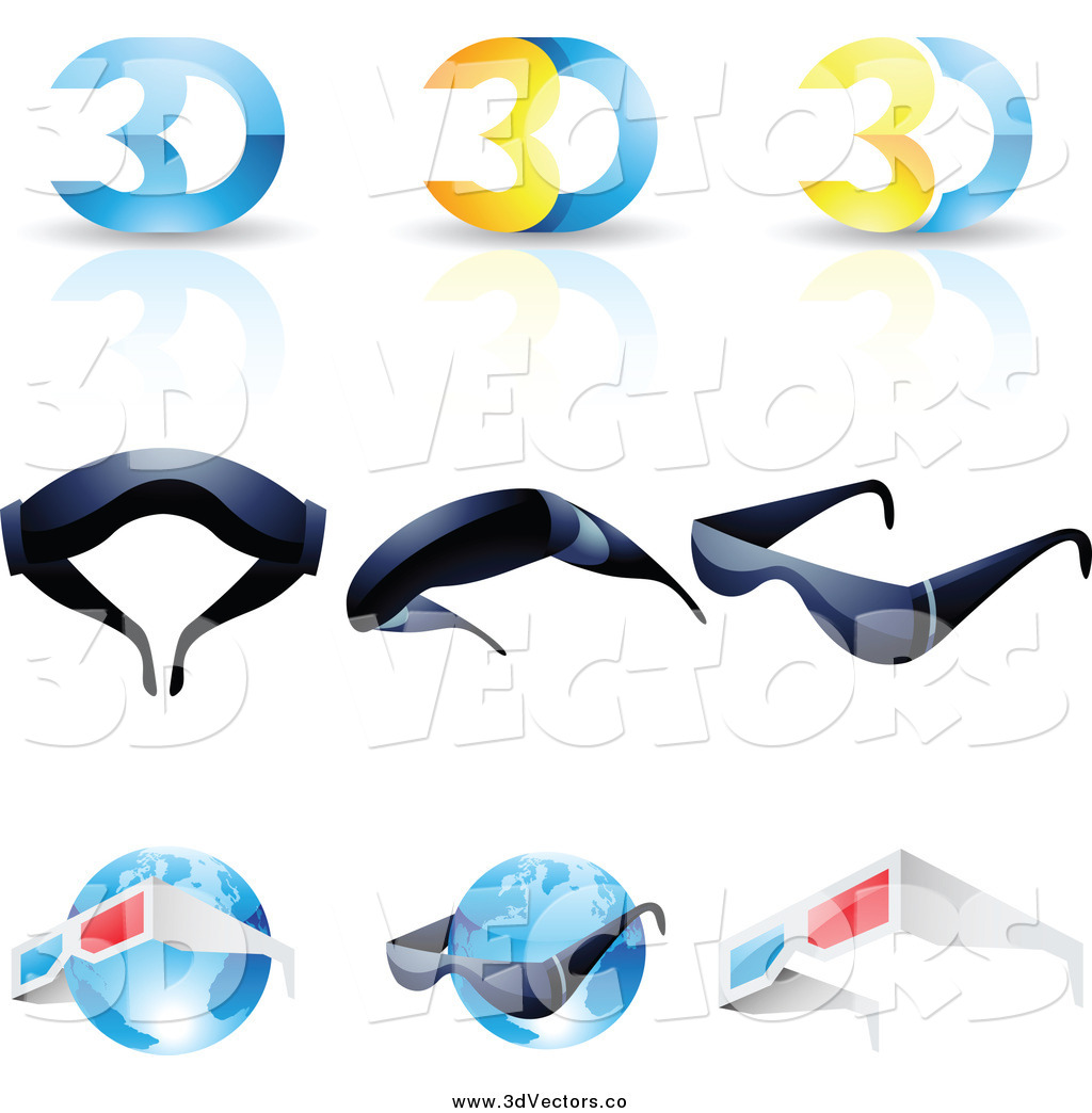 Vector Clipart of 3d Glasses and Globes by cidepix - #3853
