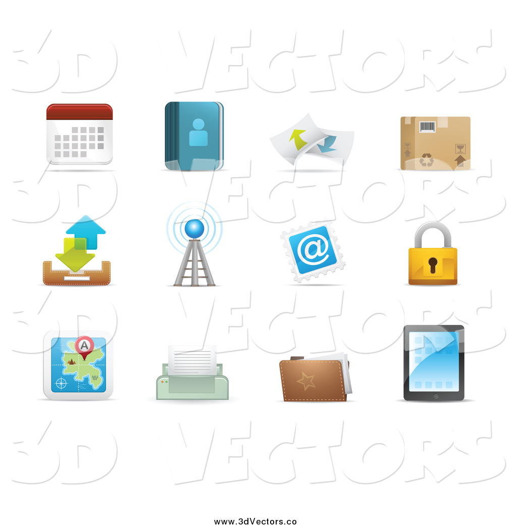 Vector clipart of 3d web browser communication icons by 3d web browser