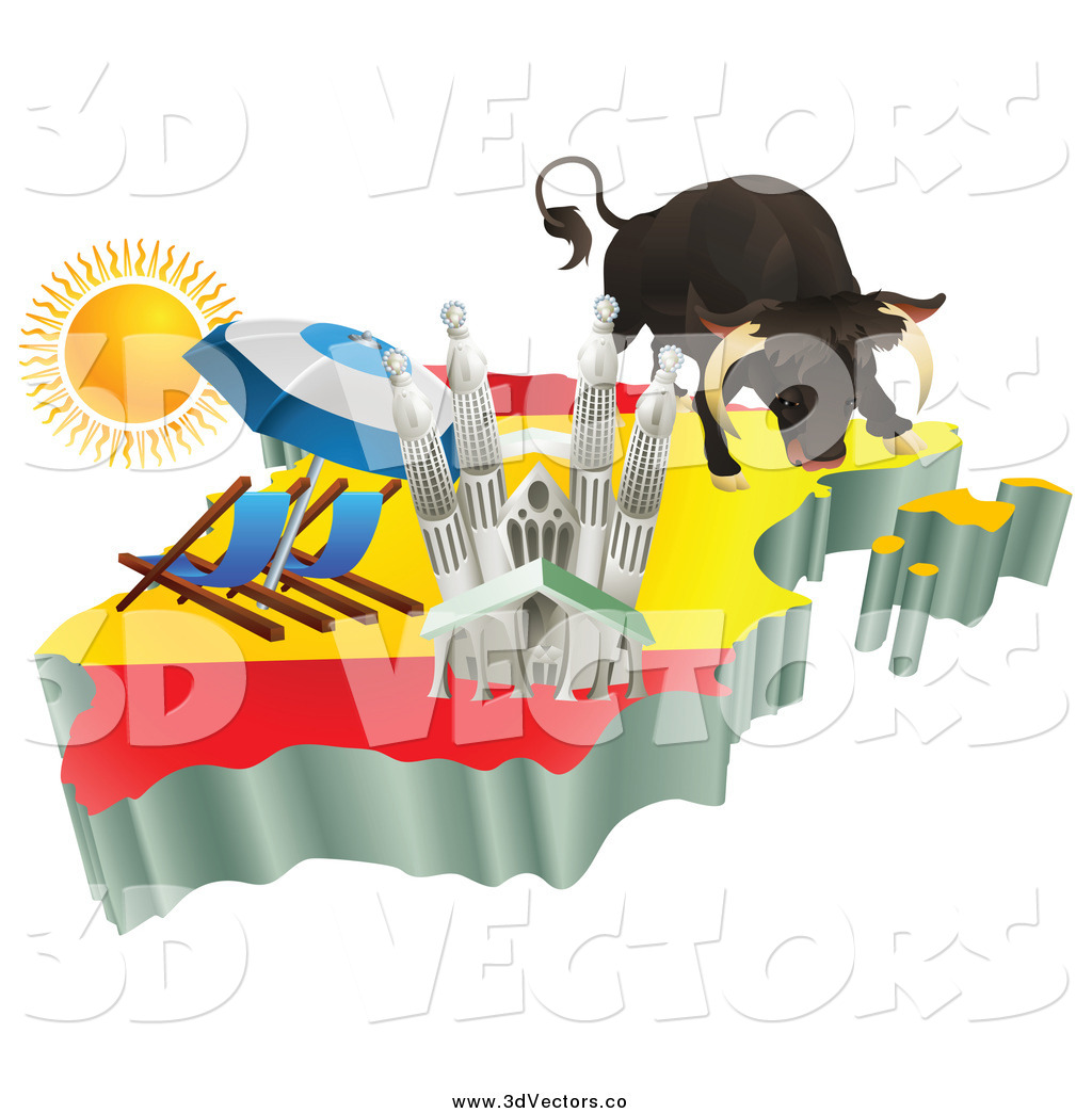 vector clipart of a 3d spanish tourist attractions on a flag map