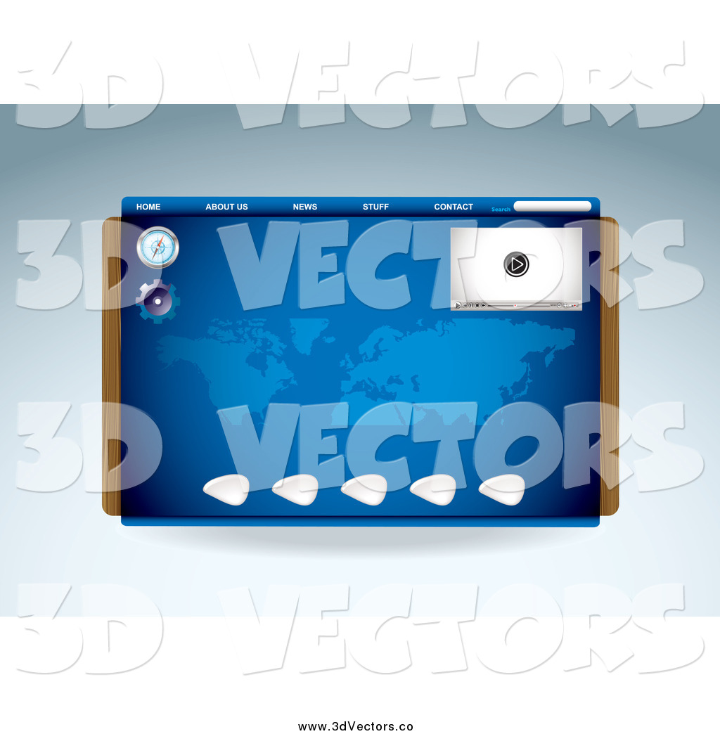 Vector Clipart of a Blue Media Player Compass and Map