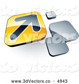 3d Vector Clipart of a 3d Arrow on a Yellow Tile Box near Orange Squares by Beboy