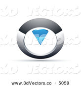 October 18th, 2013: 3d Vector Clipart of a 3d Chrome and Blue Circular Knob by Beboy