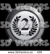 3d Vector Clipart of a 3d Chrome and Gray Second Place Icon Button with Laurels by Frog974