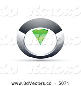 October 23rd, 2013: 3d Vector Clipart of a 3d Chrome and Green Circular Knob by Beboy