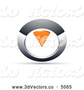 October 21st, 2013: 3d Vector Clipart of a 3d Chrome and Orange Circular Knob by Beboy