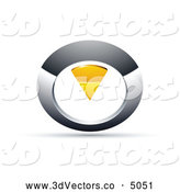 October 14th, 2013: 3d Vector Clipart of a 3d Chrome and Yellow Circular Knob by Beboy