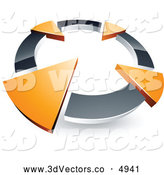 3d Vector Clipart of a 3d Chrome Circle with Four Orange Arrows Pointing Inwards by Beboy