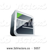 October 17th, 2013: 3d Vector Clipart of a 3d Chrome Maze with a Green Triangle at the End by Beboy