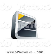October 19th, 2013: 3d Vector Clipart of a 3d Chrome Maze with a Yellow Triangle at the End by Beboy