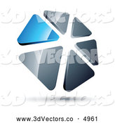 3d Vector Clipart of a 3d Circle of Blue and Silver Triangles by Beboy