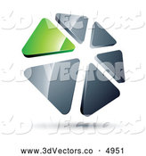 3d Vector Clipart of a 3d Circle of Green and Silver Triangles by Beboy