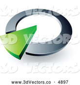 3d Vector Clipart of a 3d Green Arrow in a Black Metallic Circular Dial by Beboy