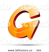 3d Vector Clipart of a 3d Orange Arrow Circling over a Shadow on White by Beboy