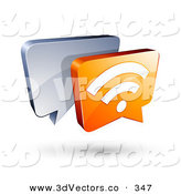 3d Vector Clipart of a 3d Orange RSS Chat Box in Front of a Silver Speech Balloon by Beboy