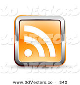 3d Vector Clipart of a 3d Orange Square RSS Symbol Button with a Chrome Border on White by Beboy
