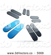 3d Vector Clipart of a 3d Pre-Made Logo of Chrome and Blue Blades Spinning by Beboy