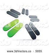 3d Vector Clipart of a 3d Pre-Made Logo of Chrome and Green Blades Spinning by Beboy