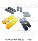 October 15th, 2013: 3d Vector Clipart of a 3d Pre-Made Logo of Chrome and Yellow Blades Spinning by Beboy
