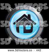 September 19th, 2013: 3d Vector Clipart of a 3d Shiny Blue House Button Icon by Frog974