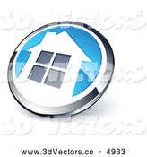 3d Vector Clipart of a 3d Shiny Round Chrome and Blue Home Button by Beboy