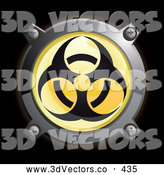 September 12nd, 2013: 3d Vector Clipart of a 3d Shiny Yellow Biohazard Button Icon by Frog974