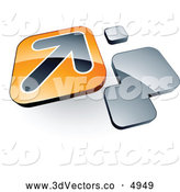 3d Vector Clipart of a Arrow on an Orange Tile Box near Orange Squares by Beboy