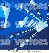 3d Vector Clipart of a Background of a Blue Structure by Tonis Pan