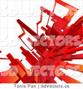 3d Vector Clipart of a Background of Red Columns on a Grid by Tonis Pan