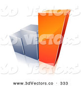 December 31st, 2012: 3d Vector Clipart of a Bar Graph with Growing Orange and Chrome Bars over White by Beboy