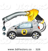 3d Vector Clipart of a Big Dripping Fuel Nozzle over a Gray Compact Gasoline Powered Car by Beboy
