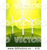 3d Vector Clipart of a Birds Flying in Sunshine Above Three Eco Energy Wind Turbines on a Green Grassy Hill, Against a Yellow Sky by Elaineitalia