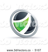 3d Vector Clipart of a Black and Green Round Button over White by Beboy