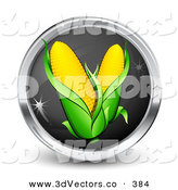 March 10th, 2013: 3d Vector Clipart of a Black and Silver Internet Button with Two Ears of Corn on White by Beboy