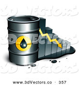 3d Vector Clipart of a Black Barrel of Gasoline and Yellow Arrow in Front of a Bar Graph Depicting a Steady Decline by Beboy