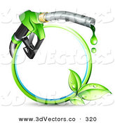 3d Vector Clipart of a Blue and Green Circle with Sprouting Leaves and a Gasoline Nozzle Dripping Green Fuel in a Green Ring by Beboy