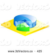 3d Vector Clipart of a Blue and Green Pie Chart on Yellow by Elaineitalia
