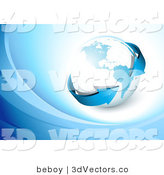 3d Vector Clipart of a Blue Arrow Circling the Earth on a White Background with Blue Waves by Beboy