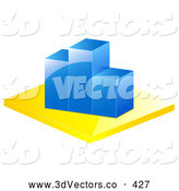 3d Vector Clipart of a Blue Bar Graph Depicting Loss and Decrease on White by Elaineitalia