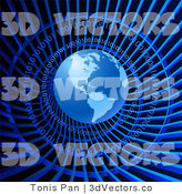 3d Vector Clipart of a Blue Binary Tunnel and Globe by Tonis Pan