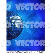3d Vector Clipart of a Blue Disco Ball on Flares by Elaineitalia