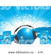 3d Vector Clipart of a Blue Disco Ball with Dance Headphones and Speakers, over a Background of Waves, Sparkles and Bursts by Elaineitalia
