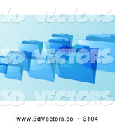 3d Vector Clipart of a Blue Floating File Folders by Elaineitalia