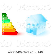 October 6th, 2013: 3d Vector Clipart of a Blue House and a Colorful Ascending Energy Rating Graph by KJ Pargeter